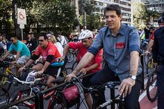 São Paulo Mayor Fernando Haddad rode down the city's central Avenida Paulista  in June....