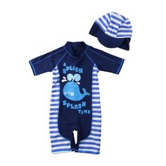 244bf14f75 Cartoon Kid Baby Boys Protective Swimwear One pieces Swimsuit with Hat Boy  Swimming Bathing Costume Beachwear