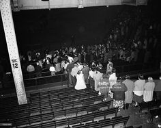 Brooklyn Dodgers fans leaving Ebbets Field in Brooklyn, New York on September 29, 1957 after the last game played at the home of the Brooklyn Dodgers prior to moving to Los Angeles. The Dodgers lost the game, 2-1, to the Philadelphia Phillies.