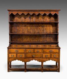 "Dresser and Rack, Carmarthenshire, circa 1770-1800. 77""h x 65""W x 18""D."