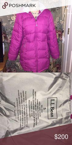 L.L. Bean magenta goose down jacket Perfect condition not a single flaw. Has detachable hood L.L. Bean Jackets & Coats Puffers