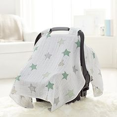 You're little one may not be taking flight, but our up, up & away floating elephants and green star balloons breathable cotton muslin car seat canopy will make any trip a breezy adventure. Sewing For Kids, Baby Sewing, Baby Daddy Shirt, Baby Alive Food, Kit Bebe, Baby Couture, Baby Swaddle, Baby Crafts, Baby Items