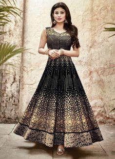 Black Faux Georgette Designer Anarkali Salwar Suit #salwar #salwarsuit #salwarkameez #anarkalisuits #onlinesalwarshopping