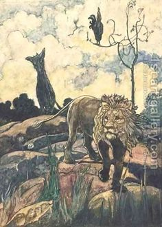 aesop's fables art   The lion and the wild ass - Aesop Fable