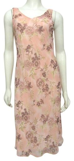 NWT Vintage Connected Pastel Pink Floral Dress Sleeveless Chiffon 8 S Apparel 6 #Connected #Shift #Casual
