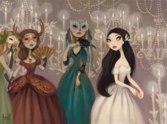 """""""Masquerade"""" by Krista Huot, one of my newly-discovered favorite artists.  I really like her style, and a lot of her subjects are pale with dark hair like me! :-)"""