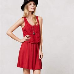 Anthropologie summer dress Anthropologie red summer tank dress with embroidered top and swingy knee length skirt. Worn only once!!! Anthropologie Dresses Midi