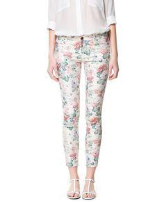 5 POCKET FLORAL PRINT TROUSERS - Trousers - Woman | ZARA Egypt