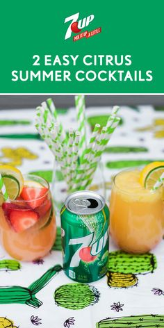 These 2 Easy Citrus Summer Cocktails aren't short on refreshing flavor. Both the recipe for the Strawberry Citrus Kick and the Shirley Temple with a Citrus Twist feature fresh fruit, vivid colors, and—of course—7UP®! Whether you choose to make the mocktail for your kiddos, or the boozy beverage for the adults, everyone at your summer party can enjoy a fun and fizzy drink. Before your get-together, pick up everything you need at Walmart.