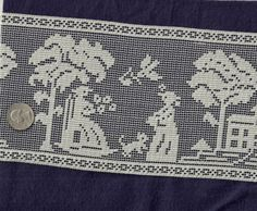 Ecru Filet Lace Scenic Almost 3 Yards 5 1/4 Inch by debscrafts55, $4.50