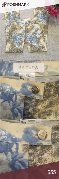 Escada casual trousers Beautiful, never worn Escada casual cotton blend trouser. The perfect casual/chic excursion pant. Features blue floral/ muted leopard print fabric in 98% cotton, 2% elastane for a flattering fit❤️. All gold tone grommets and button closure feature the Escada logo  2 front pockets. Waist measures 28.5, rise 10, length 31. Escada Pants