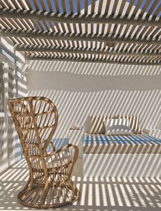 Wicker chair designed by Gio Ponti for an Italian cruise ship. Deck With Pergola, Home, Pergola Canopy, Pergola Lighting, Outdoor Chairs, Mediterranean Homes, Roof Design
