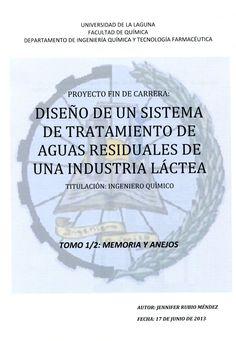 Diseño de un sistema de tratamiento de aguas residuales de una industria láctea / Jennifer Rubio Méndez ; [dirigido por Luis Enrique Rodríguez Gómez]. - La Laguna : [s.n.], 2013