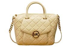 Michael Michael Kors Vanilla Fulton Satchel Bag http://www.youngideasfashion.com/store/product/12452/Michael-Michael-Kors-Vanilla-Fulton-Satchel-Bag/ cream quilted bag from MK - WANT! #young ideas