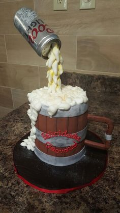 Gravity Defying Beer Can Cake by Gisela Melendez /Mi Casa Cake and More