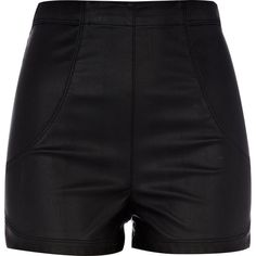 River Island Black leather look high waisted shorts (61 BRL) ❤ liked on Polyvore featuring shorts, bottoms, pants, short, leather look shorts, back zip shorts, river island, high waisted short shorts and high-waisted shorts