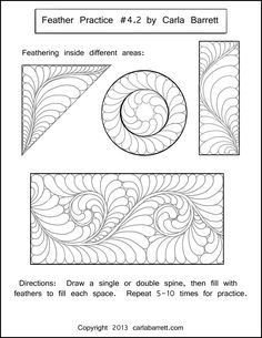 Worksheet example by Carla Barrett  http://featheredfibers.wordpress.com/2013/01/23/feather-practice-part-4/