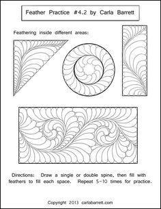 Worksheet example by Carla Barrett  http://featheredfibers.wordpress.com/2013/01/23/feather-practice-part-4/
