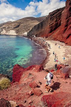 "Santorini, Greece is a top saved destination for Pinners planning honeymoons. Red Beach, specifically, is on everyone's ""must see"" list and it's not hard to see why."