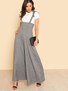 96a51a32d60 ... Buy Quality work jumpsuits women directly from China wide leg jumpsuit  Suppliers  Sheinside Self Tie Strap Wide Leg Jumpsuit 2018 Spring Grey  Sleeveless ...