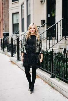 lbd | tweed jacket | bow belt | black tights | pumpsYOU CAN DO SILVER SHOES W/BLACK TIGHTS!