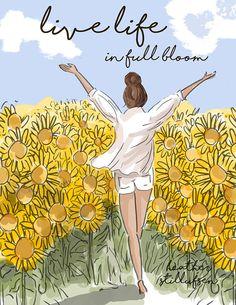Vivir en plena floración  arte de la pared para las mujeres