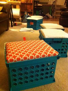 Milk crate seating!bought the crates from target. Then brought a crate into Home Depot. They took a long plank of wood, measured it, cut it for me to fit the crate. I got scrap baton from a fabric store. Wrap the wood with the baton- stapled it, wrapped the material I chose (I got patio furniture material- on sale) - folded and stapled. Stapled a ribbon for easy lifting and voila!