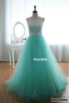 2015 cute tulle + lace light blue modest prom dress for teens, evening dress, formal dress, grad dress, homecoming dress #promdress