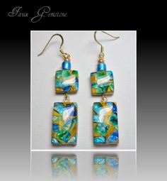 Faux Gemstone Turquiose & Emerald Earrings, polymer clay jewelry. $12.00, via Etsy.