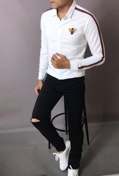 New embroidery shirt collar shops 69 ideas Shirt Collar Styles, Collar Shirts, Stylish Shirts, Casual Shirts, Trajes Casual, Camisa Slim, Mens Kurta Designs, Mens Designer Shirts, Mens Dress Pants