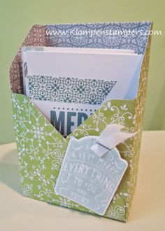 Make open file box using Gift Box Punch Board - by Jackie Bolhuis (includes dimensions & picture template)