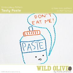 tasty paste embroidery pattern #free #embroidery #diy #crafts