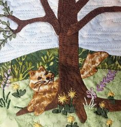 Cindy Thomas His Majesty The Tree March block center closeup of applique and embroidery