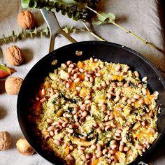 Quinoa salteada con calabaza y champiñones