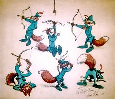 Ken Anderson- sketches from Disney's Robin Hood Art Disney, Disney Concept Art, Disney Artists, Disney Stuff, Disney Movies, Character Sketches, Character Design, Character Sheet, Disney Animated Films