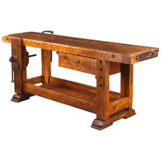 French Industrial Walnut Carpenter's Workbench, Late 1800s | From a unique collection of antique and modern industrial and work tables at https://www.1stdibs.com/furniture/tables/industrial-work-tables/