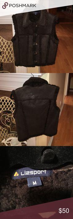 Lizsport vest Lambsuede brown vest with brown shearling inside. In excellent condition. lizsport Jackets & Coats Vests