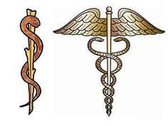 Báculo de Asclepio = Este báculo es utilizado como el símbolo mundial de la medicina que es un báculo con una serpiente enrollada, el cual era usado por Asclepio, el dios griego de la medicina. Los romanos llamarían Esculapio al mismo dios, siendo la Vara de Esculapio, un bastón con una serpiente enrollada, también el símbolo mundial de la medicina.
