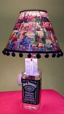 Lampada comodino,abat jour bottiglia jack daniel's con paralumeMICKEY MOUSE,lamp