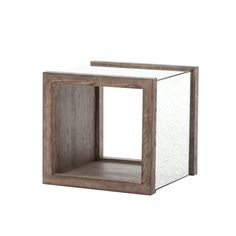 """BALLANTRAE SIDE TABLE  The Ballantrae side table is crafted from a wire-brushed oak rectangle frame.  The end table features an antique mirror paneling along the sides.  The Ballantrae is measured at 22"""" wide, 21"""" high, and 22"""" deep."""