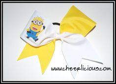 The Minion Cheer Bow $12.00 www.cheerlicious.com Disney Cheer Bows, Cheerleading Cheers, Minions, Christmas Time, Hair Bows, Bling, Fitness, Pretty, Outfits