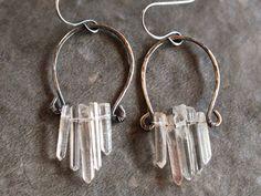 Raw crystal point earrings, sterling silver hoops, natural stone earrings, rustic dangle hoops, gypsy earrings, beadwork,