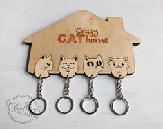 Laser cut Crazy Cat Home wall key holder with by TwikiConcept