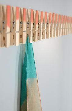 Easy DIY Clothespin Scarf Holder /// By Faith Towers for DIYs.com