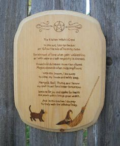 The Kitchen Witch's Creed by CountryHillCreations on Etsy.com I want a wood burner I could do this myself.