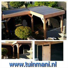 Een maatwerk veranda - overkapping, is een van de specialiteiten van tuinmani. Dit is gemaakt van lariks en het dak is bedekt met EPDM folie. Een fijne plek in uw tuin, om heerlijk te genieten met vrienden. Ook verkrijgbaar met dakshingles en in geïmpregneerd hout. Geplaatst en verkrijgbaar bij @tuinmani #tuinmani www.tuinmani.nl