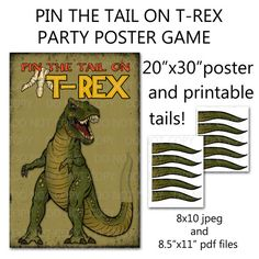 """Printable DIY Pin the Tail on Trex Dinosaur Party Game Poster 20"""" x 30"""" on Etsy, $12.50"""