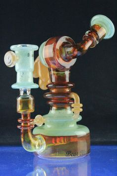 Bear Mountain Studios Mint and Honey Rig with Peach Accents – Dab Rigs and Vapor Rigs
