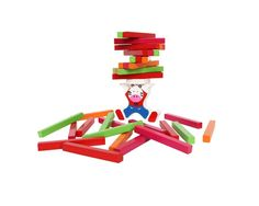 An exciting patience and dexterity game in which only steady hands will succeed. Just pile up the sticks (approx. 9 x 1 x 1 cm) onto the zebra´s back. The player who piled up all sticks first is the winner!