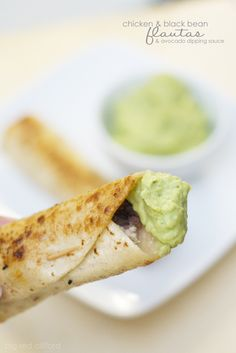 chicken  black bean flautas with the perfect avocado dipping sauce | bigredclifford.com